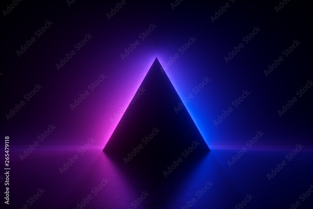 Fototapety, obrazy: 3d render, blue pink neon triangular frame, triangle shape, empty space, ultraviolet light, 80's retro style, fashion show stage, abstract background