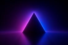 3d Render, Blue Pink Neon Tria...