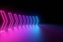 3d Render, Glowing Neon Arrows, Abstract Background, Right, Direction Concept