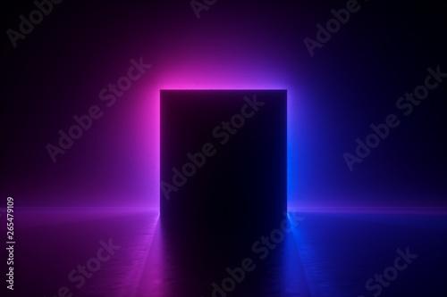 3d render, blue pink neon square frame, empty space, ultraviolet light, 80's ret Fotobehang