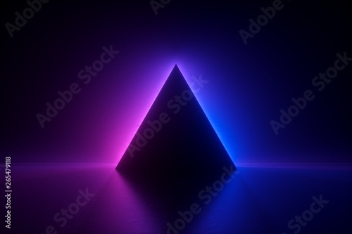 Fototapeta 3d render, blue pink neon triangular frame, triangle shape, empty space, ultravi