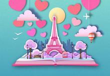 Open Fairy Tale Book With Paris City Landscape And Eiffel Tower. Cut Out Paper Art Style Design