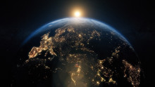Planet Earth From Space. Beautiful Sunrise World Skyline. Illustration Contains Space, Planet, Galaxy, Stars, Cosmos, Sea, Earth, Sunset, Globe. 3d Illustration. Images From NASA