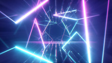 Flying Through Glowing Neon Lines Creating A Tunnel, Blue Red Pink Violet Spectrum, Fluorescent Ultraviolet Light, Modern Colorful Lighting, 3d Illustration
