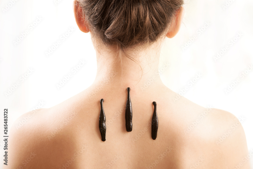 Fototapety, obrazy: The girl with bloodsuckers on a back on a white background.