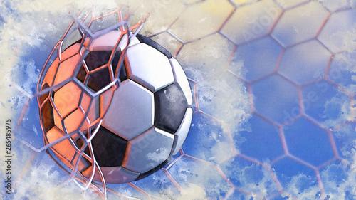 Piłka nożna i siatka do bramki w błękitne niebo ilustracja połączone szkic ołówkiem i szkic akwarela. Ilustracja 3D. 3D CG. Wysoka rozdzielczość.