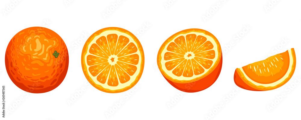 Fototapety, obrazy: Delicious orange fruit vector design illustration isolated on white background