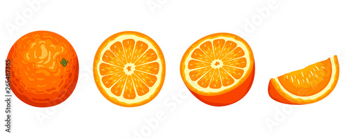 Fotografie, Tablou Delicious orange fruit vector design illustration isolated on white background