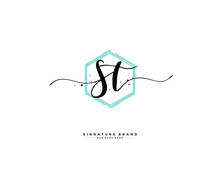 S T ST Initial Logo Handwritin...