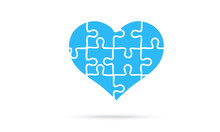 Puzzle Heart Isolated On A White Background. Mosaic, Details, Pieces, Tails. Jigsaw Background For Presentation Template. Simple Modern Design. Blue Color. Flat Style Vector Illustration.