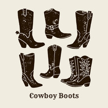 Cowboy Boots Silhouette Collection In Retro Style