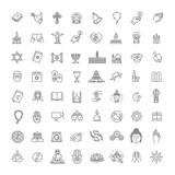 Ikony religii wektor zestaw cienki styl. Wektor