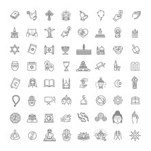 Vector Religion Icons Set Thin...