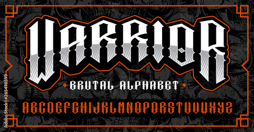 Valokuva  Warrior font, brutal typeface for themes such as biker, tattoo, rock and roll and many other