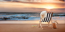 Beach Chair With Hat On Tropic...