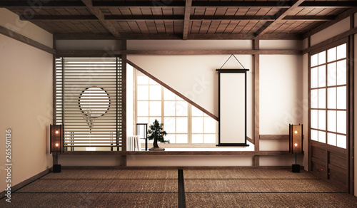 tatami mats and paper sliding doors and decoration japanese style. 3D rendering - 265501136