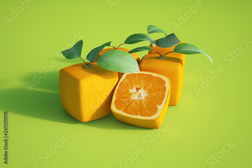 Photo Cubic oranges in green