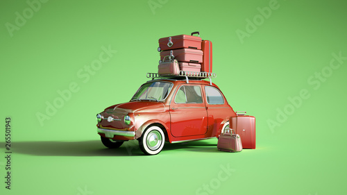 Recess Fitting Vintage cars Retro car on a trip red green