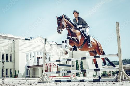Foto auf AluDibond Licht blau Beautiful graceful horse jumping over the barrier