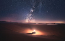 Morocco, Desert Of Erg Chebbi, Silhouette Of Man Looking At Milky Way