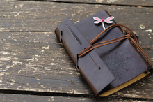 Leather Notebook With Dragonfly