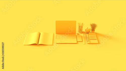 canvas print motiv - paul : Yellow Contemporary Hot Desk Office Setup with Laptop Mobile Phone Notepads Pens Magazine Calculator an Bull clips 3d illustration 3d rendering