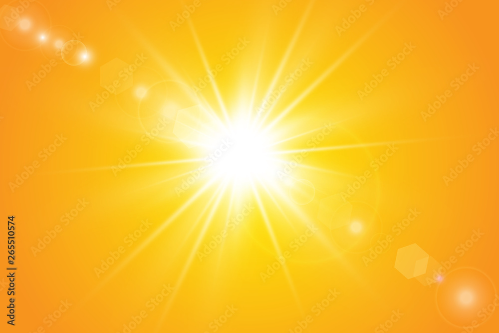 Fototapety, obrazy:  Warm sun on a yellow background. Leto.bliki solar rays