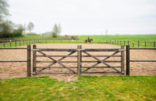 Wooden Gate To An Equine Training Course