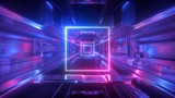 Fototapeta Fototapety przestrzenne i panoramiczne - 3d render, abstract futuristic geometric background, glowing square shape, neon light, tunnel, corridor, space station interior, geometric structure, cyber safety, virtual reality, ultraviolet
