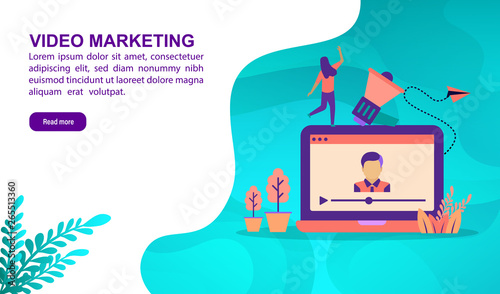 Photo  Video marketing illustration concept with character