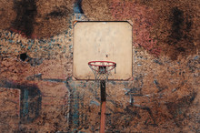 Basketball Court Outdoor A Old Brick Wall. Old Basketball Hoop