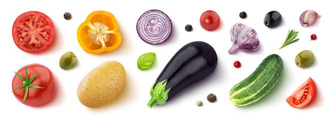 Asortiman različitog povrća, začinskog bilja i začina, ravno položeno, pogled odozgo