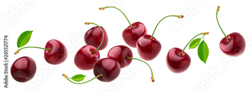 Cherry isolated on white background with clipping path, fresh cherries with stem Fototapet