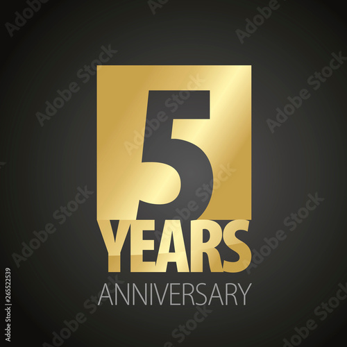 Fotografie, Obraz  5 Years Anniversary gold black logo icon banner