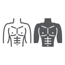 Male Torso Line And Glyph Icon, Diet And Body, Man Figure Sign, Vector Graphics, A Linear Pattern On A White Background.