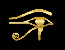Golden Eye Of Horus On Black B...