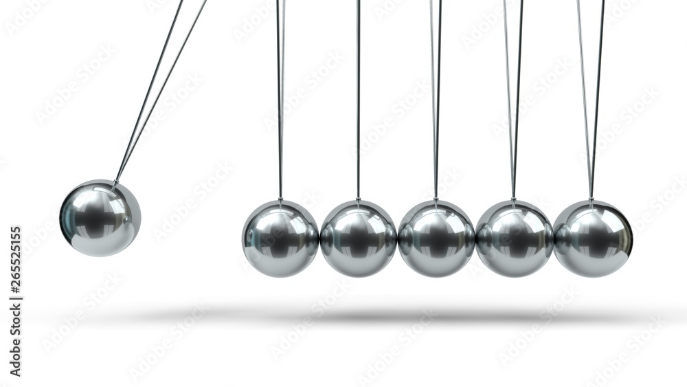 Fototapety, obrazy: Newton's Cradle with silver balls. 3d illustration