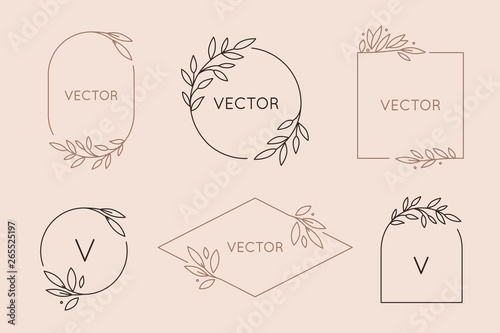 Photo Vector logo design template and monogram concept in trendy linear style - floral