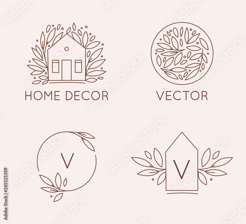 Vector Logo Design Template In Simple Linear Style Home Decor Store Emblemy Scandinavian And Minimal Interior Decoration Buy This Stock Vector And Explore Similar Vectors At Adobe Stock Adobe Stock