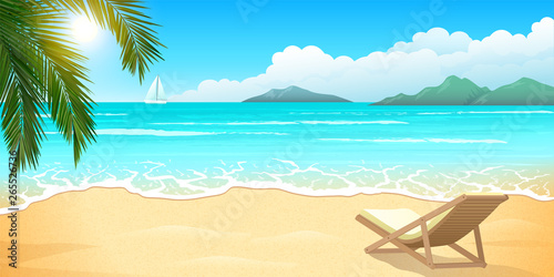 Sand beach with palm and chaise lounge, clear blue water, summer paradise Slika na platnu