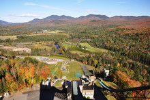 Adirondack Mountains In Fall, View From The Ski Jump Observation Deck In Lake Placid, Adirondack Mountains, New York State, USA.