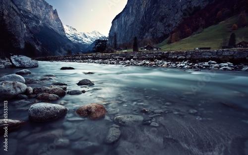 Papiers peints Bleu nuit montagne paysage