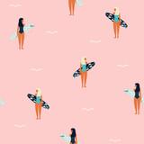Bezszwowy wzór z dziewczyną i surfboard. Modny letni druk. Wektorowa ręka rysująca ilustracja. - 265533553