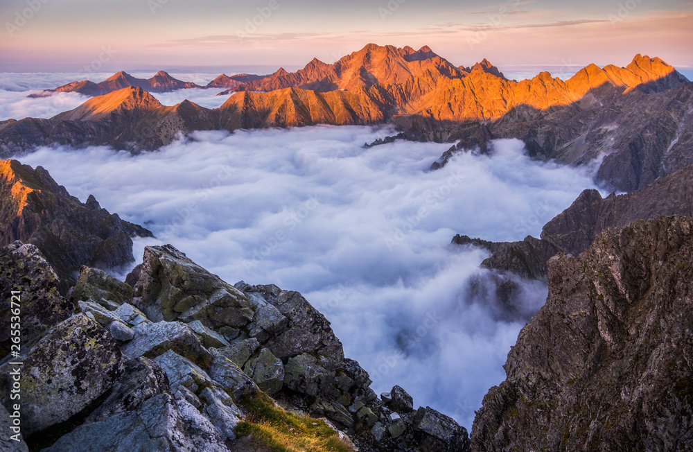 Fototapety, obrazy: Mountains Landscape with Inversion in the Valley at Sunset as seen From Rysy Peak in High Tatras, Slovakia