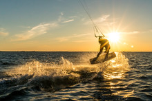 Kitesurfing In Sunset