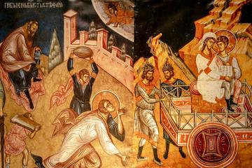 Bari, Italy - March 10, 2019: Engraving on the altar of the minor basilica of San Nicolas de Bari.