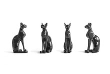 Egyptian Cat Statues Isolated On White Background - Set