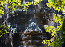 Carved Stone Face, Angkor, Cambodia