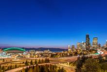 City Skyline Lit Up At Night, ...