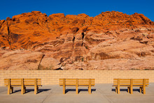 Park Benches Facing Red Rock Canyon, Nevada, United States
